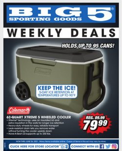Sports deals in the Big5 Sporting Goods catalog ( Published today)