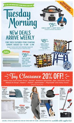 Home & Furniture deals in the Tuesday Morning weekly ad in Springfield MO