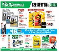 Automotive deals in the O'Reilly Auto Parts weekly ad in Yorba Linda CA