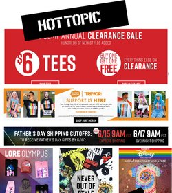 Clothing & Apparel deals in the Hot Topic catalog ( Published today)