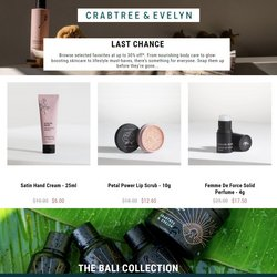Beauty & Personal Care deals in the Crabtree & Evelyn catalog ( Expires today)