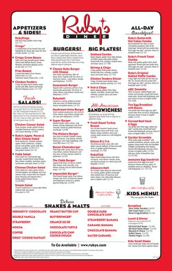 Restaurants deals in the Ruby's Diner catalog ( More than a month)