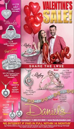 Valentine's Day deals in the Daniel's Jewelers weekly ad in Fontana CA