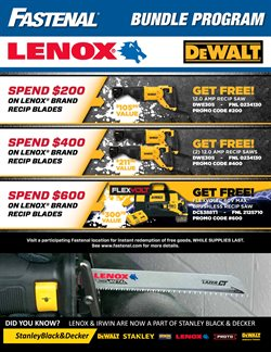 Saw deals in the Fastenal weekly ad in Schenectady NY