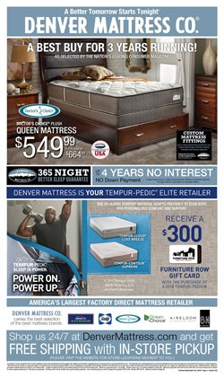 Mattress deals in the Furniture Row weekly ad in Erie PA