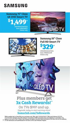 TV deals in the Sam's Club weekly ad in Concord CA