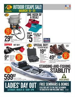 Kayak deals in the Cabela's weekly ad in Arvada CO
