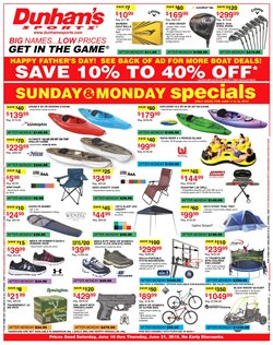 Dunham's Sports deals in the Pittsburgh PA weekly ad