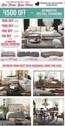 American Signature Furniture deals in the Columbus OH weekly ad