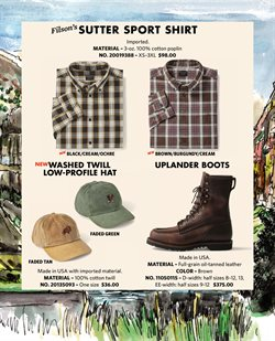 Hat deals in the Filson weekly ad in New York