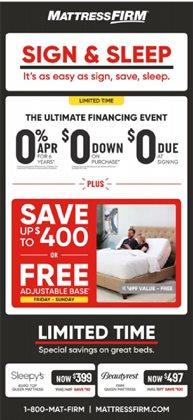 Home & Furniture deals in the MattressFirm weekly ad in Aiken SC