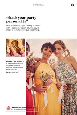 Tie deals in the David's Bridal weekly ad in New York