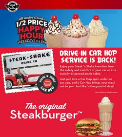 Restaurants deals in the Steak 'n Shake catalog ( 15 days left)