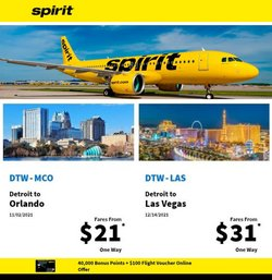 Travel & Leisure deals in the Spirit Airlines catalog ( More than a month)