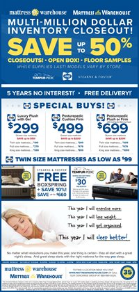 Mattress Warehouse deals in the Massillon OH weekly ad