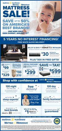 Mattress deals in the Mattress Warehouse weekly ad in Canton OH