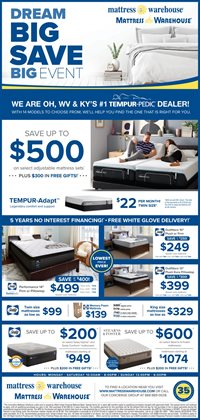 Home & Furniture deals in the Mattress Warehouse weekly ad in Charleston WV