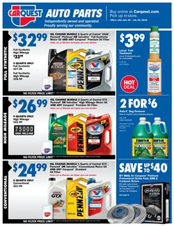 Oil change deals in the Carquest weekly ad in San Jose CA