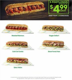 Restaurants deals in the Subway weekly ad in Whittier CA