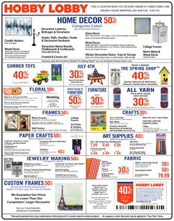 Home & Furniture deals in the Hobby Lobby weekly ad in Cherry Hill NJ