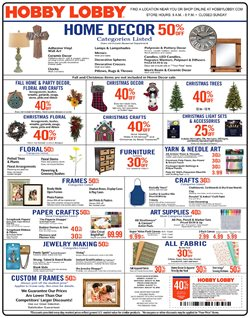 Home & Furniture deals in the Hobby Lobby weekly ad in Lebanon PA