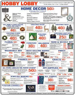 Home & Furniture deals in the Hobby Lobby weekly ad in Bay City MI