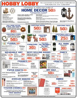 Home & Furniture deals in the Hobby Lobby weekly ad in Springfield MO