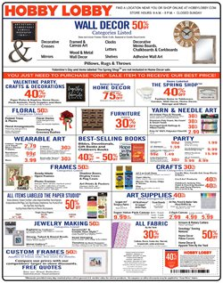 Home & Furniture deals in the Hobby Lobby weekly ad in Jersey City NJ