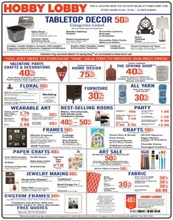 Home & Furniture deals in the Hobby Lobby weekly ad in Victoria TX