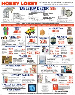 Home & Furniture deals in the Hobby Lobby weekly ad in Stone Mountain GA