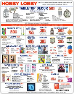 Home & Furniture deals in the Hobby Lobby weekly ad in Norcross GA
