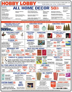 Home & Furniture deals in the Hobby Lobby weekly ad in Federal Way WA
