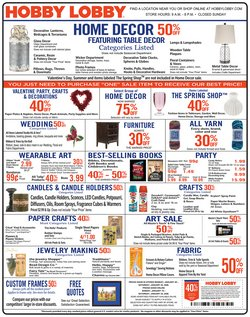 Home & Furniture deals in the Hobby Lobby weekly ad in Easton PA