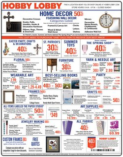 Home & Furniture offers in the Hobby Lobby catalogue in Kenner LA ( 3 days left )