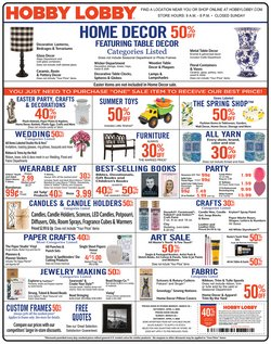 Home & Furniture offers in the Hobby Lobby catalogue in Waterloo IA ( Expires tomorrow )