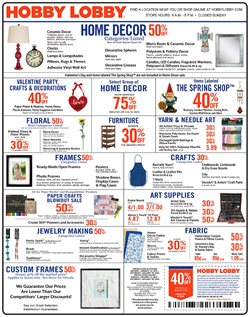 Home & Furniture deals in the Hobby Lobby weekly ad in Miami FL