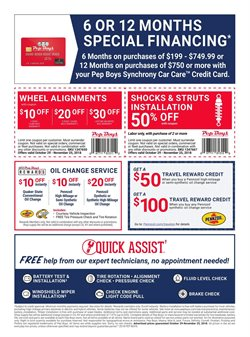 Oil change deals in the Pep Boys weekly ad in New York