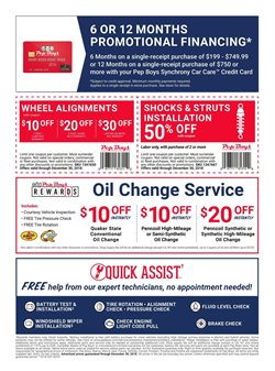 Oil change deals in the Pep Boys weekly ad in Brockton MA
