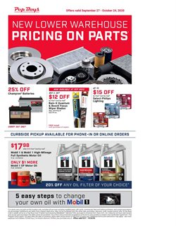 Motor oil deals in Pep Boys