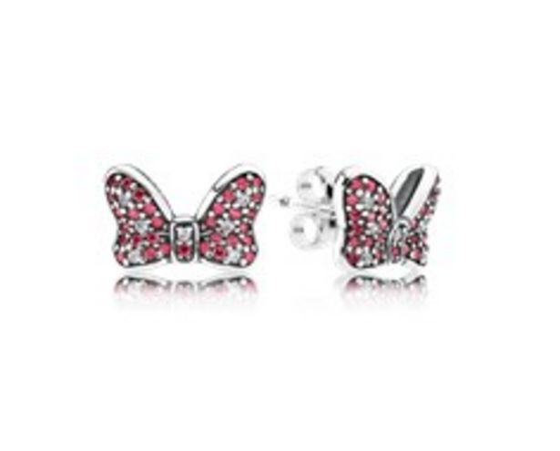 Disney, Minnie's Sparkling Bow Stud Earrings, Red & Clear CZ - FINAL SALE deals at $75