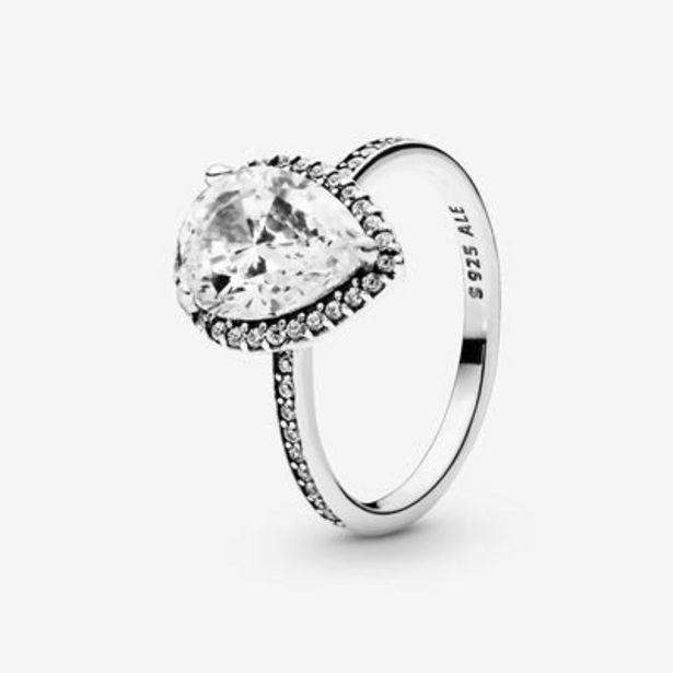 Sparkling Teardrop Halo Ring offer at $100