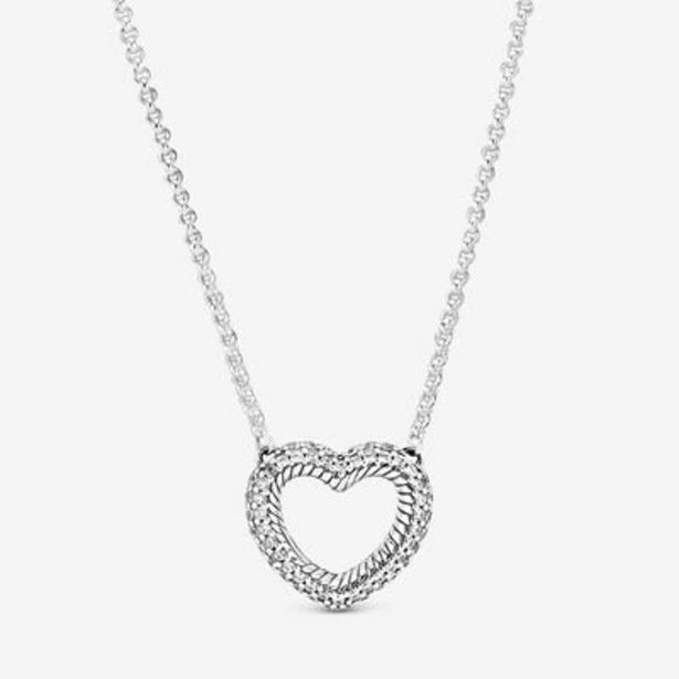 Pavé Snake Chain Pattern Open Heart Collier Necklace offer at $90