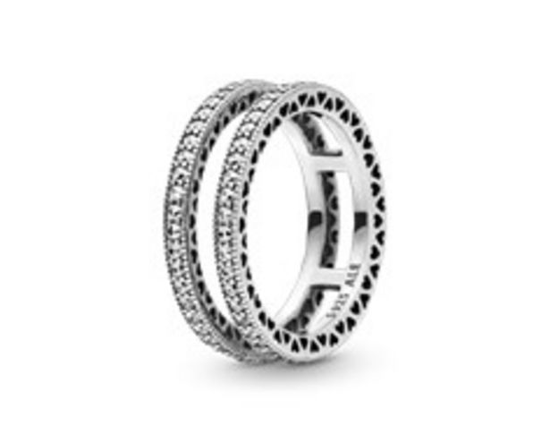 Double Sparkle and Hearts Ring - FINAL SALE deals at $115