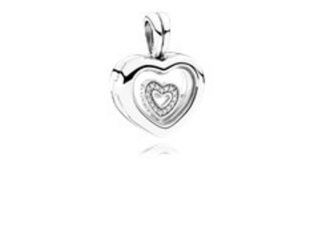 PANDORA Floating Heart Locket, Sapphire Crystal Glass & Clear CZ - FINAL SALE offer at $65