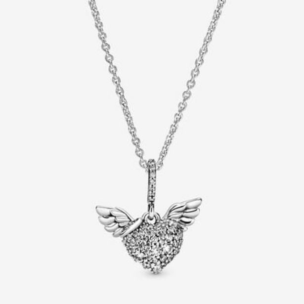 Pavé Heart and Angel Wings Necklace offer at $115