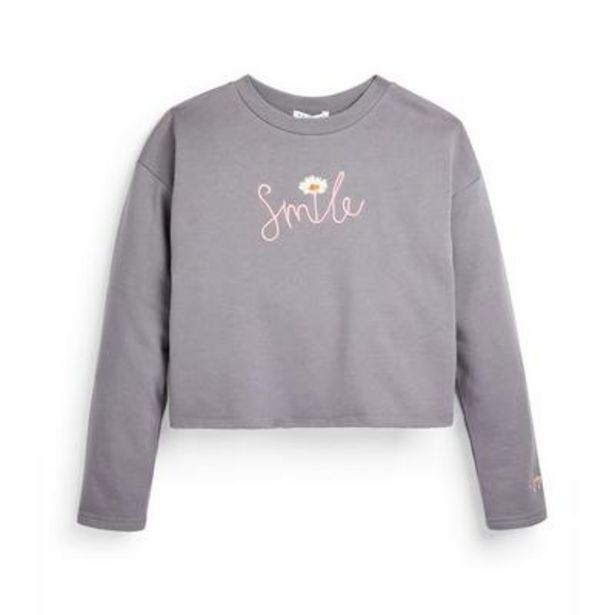 Older Girl Gray Slogan Daisy Cropped Crew Neck Sweater deals at $12