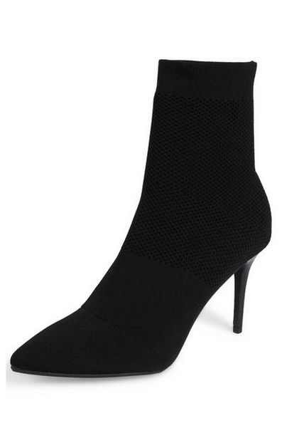 Black Stretch Knit Pointed Toe Boots offer at $25