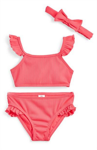 Younger Girl Pink Ribbed Bikini With Hairband deals at $8