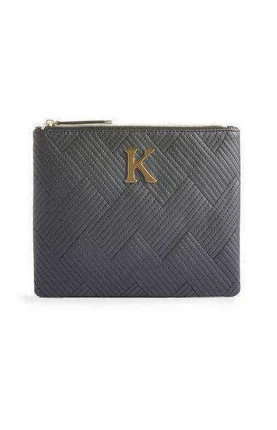 Black Stitched K Initial Makeup Bag offer at $5