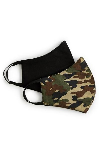 2-Pack Camo Print And Black Face Masks deals at $3.5